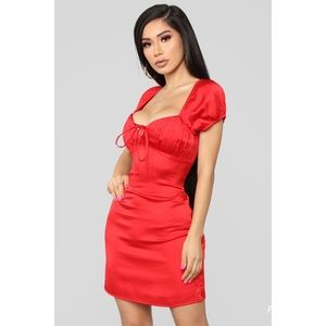Fashion Nova Red Satin Mini Dress W/Bustier Top